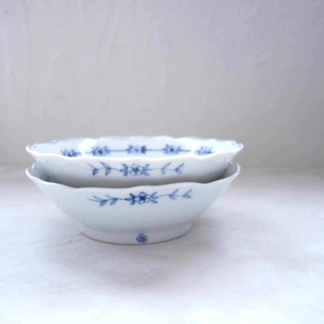 2枚セット 13.3cm 取り分け小鉢 和食器 九谷焼 うつわ 器 染付 青 ブルー 花柄 フラワー no.023