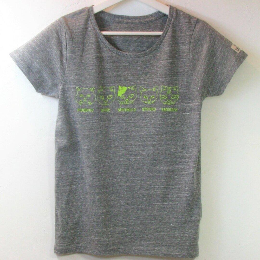 ネコ Tシャツ M ネオン
