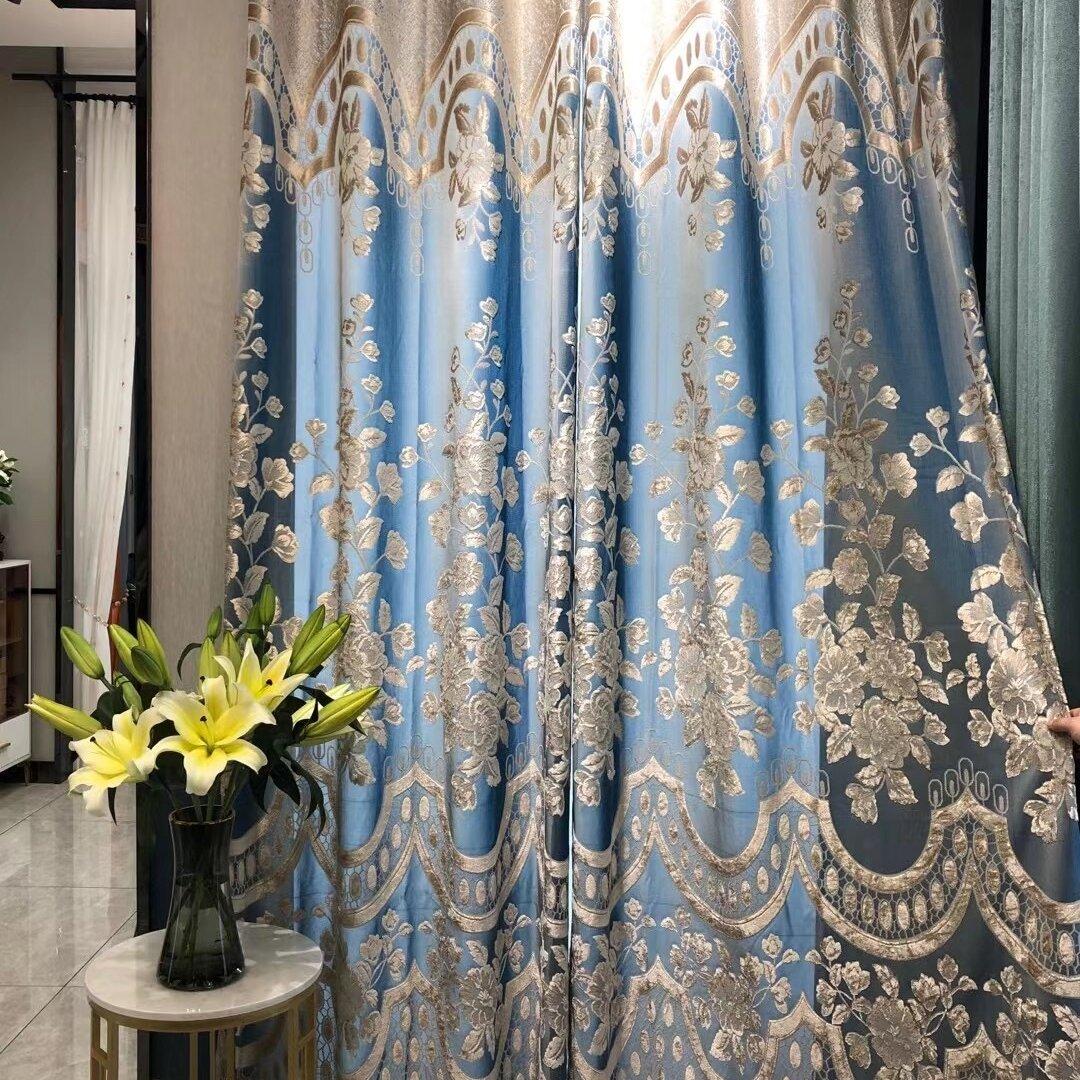 オリジナル 高級 レースカーテン 遮光カーテン おしゃれ ブルー オーダーメイド サイズ きれい ボイルカーテン カーテン幅 工場から直売
