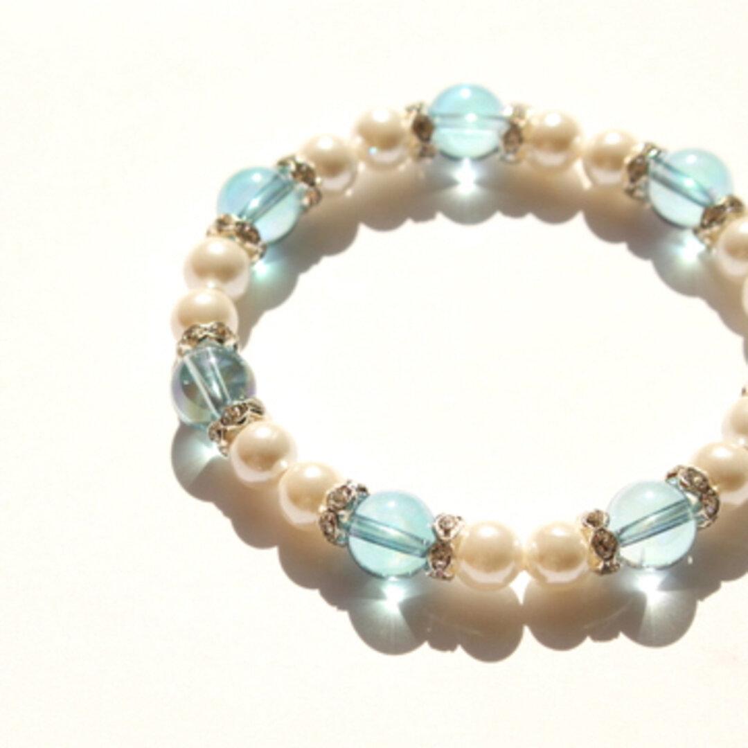 ◆*引き寄せる--blue aqua aura…◆ 天然石ブレスレット