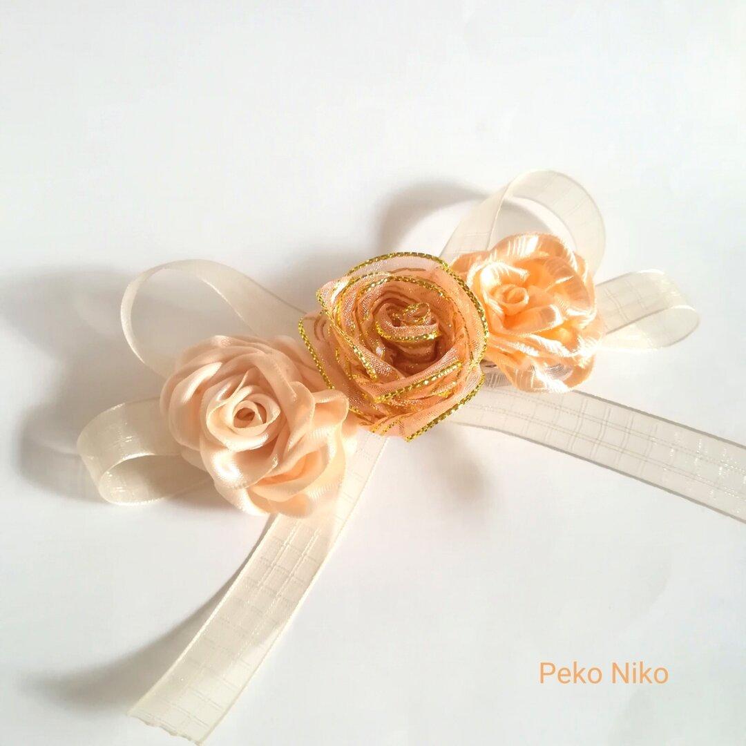 ラッピング無料☆可憐なるリボンの薔薇 babypink バレッタ リボンフラワー