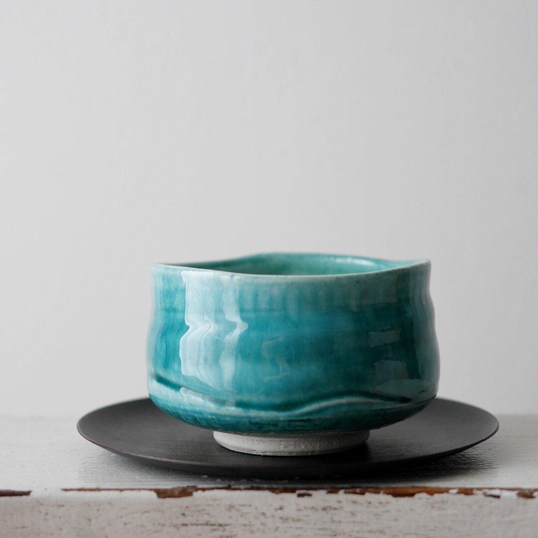抹茶茶碗 植木鉢 器 和物  塊根植物 コーデックス 観葉植物  フラワーベース グリーン Bonsai
