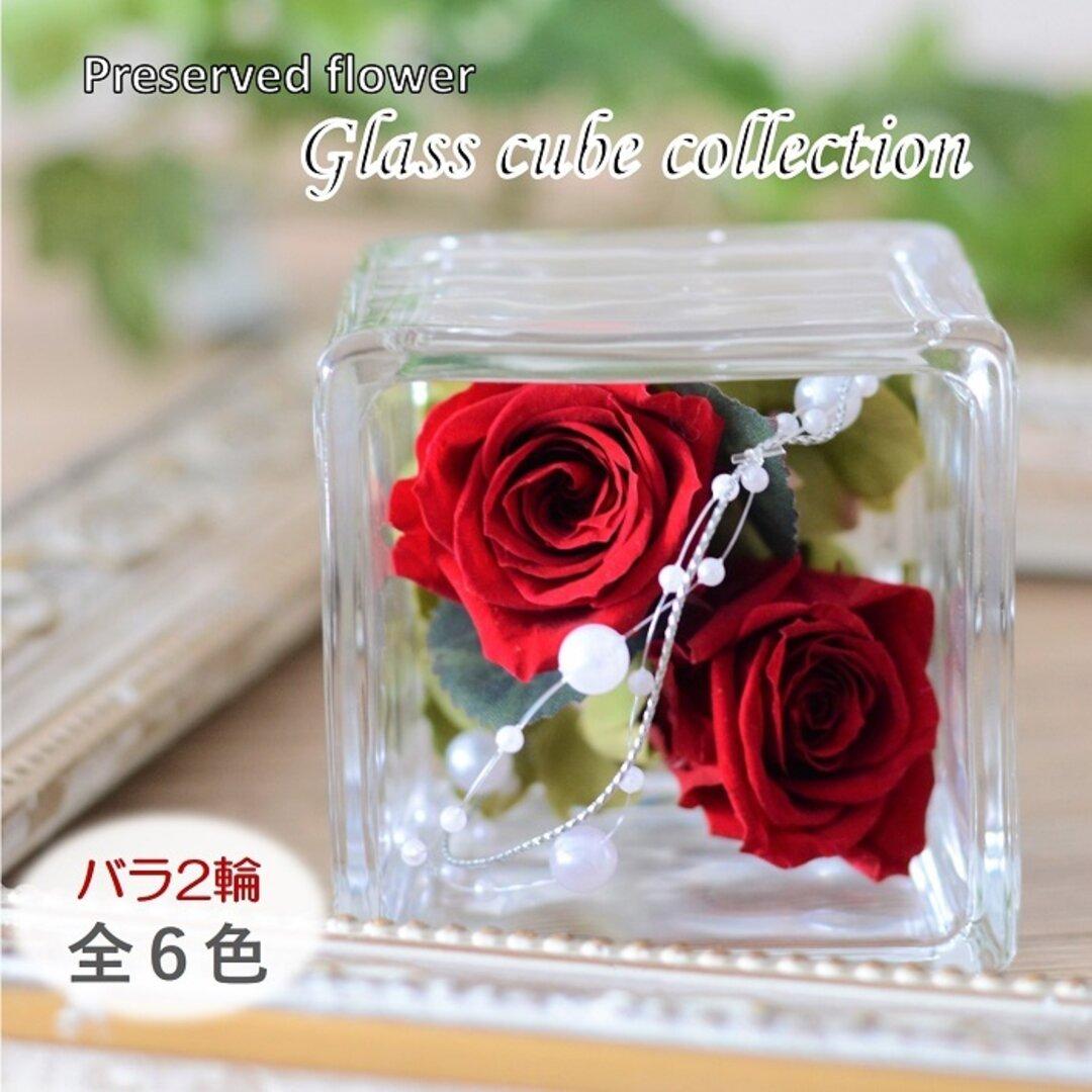 全6色 プリザーブドローズ 上質なガラスキューブに2輪のバラを ギフトにインテリアに 還暦 古希 喜寿 傘寿 米寿 リングピロー 出産祝い 誕生日プレゼント