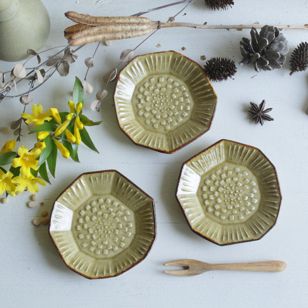 豆皿 たんぽぽ 黄茶系 陶器