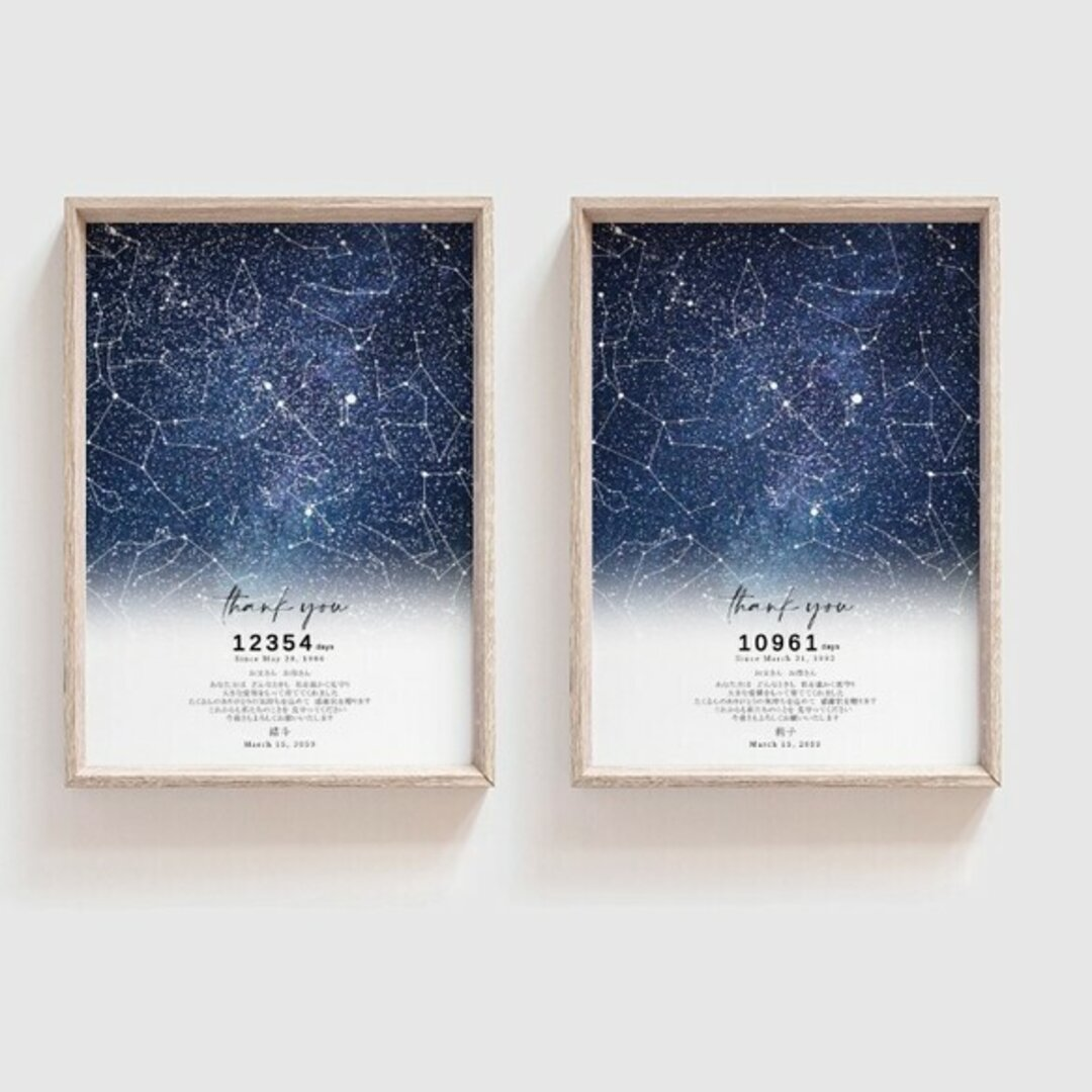 産まれた日の星空 子育て感謝状 結婚式 wedding1枚価格ご両親への贈呈品  starmap035