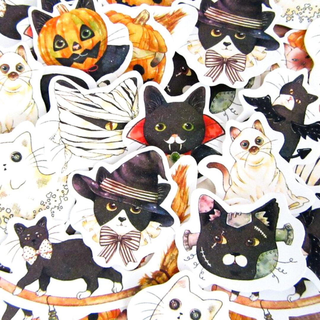 ハロウィンな猫のフレークシール