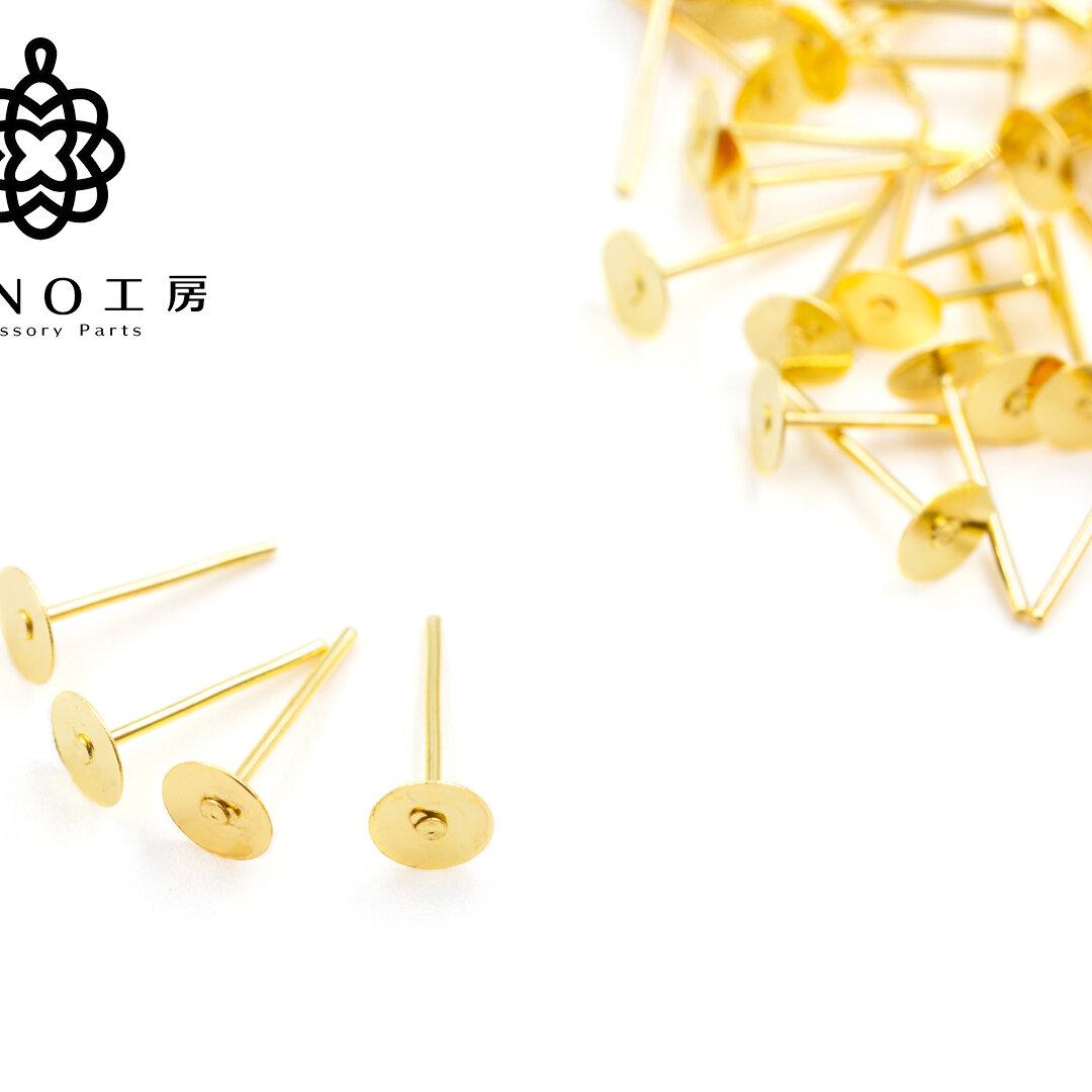 【pc-6】5mm 丸皿ピアス ゴールド 金属キャッチ付き★100個★ピアス 基礎パーツ