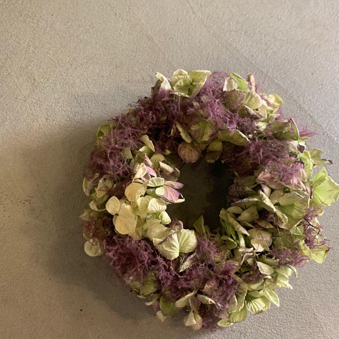 送料無料★ flower hydrangea×Smoke tree wreath 紫陽花とスモークツリーのリース⭐︎ナチュラルドライフラワーミニリース ドアリース0212021