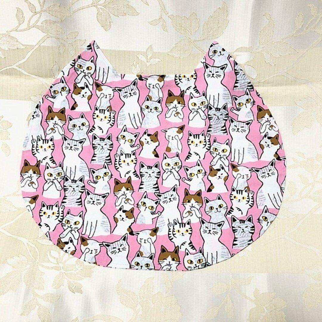 """ネコ型ランチョンマットミニ """"ねこのみみ"""" にゃんチョンマット いろんなにゃんこたち ピンク"""