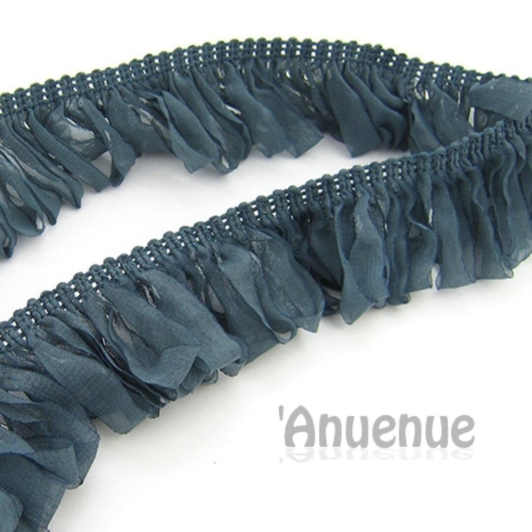 シフォン ループフリンジリボン(Forest Blue / フォレストブルー)×50cm