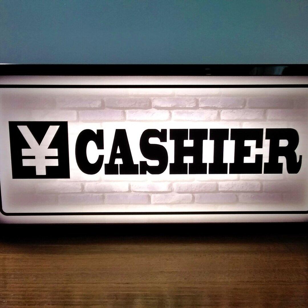 キャッシャー 会計 レジ CASHIER 店舗 看板 置物 雑貨★LED2wayライトBOX