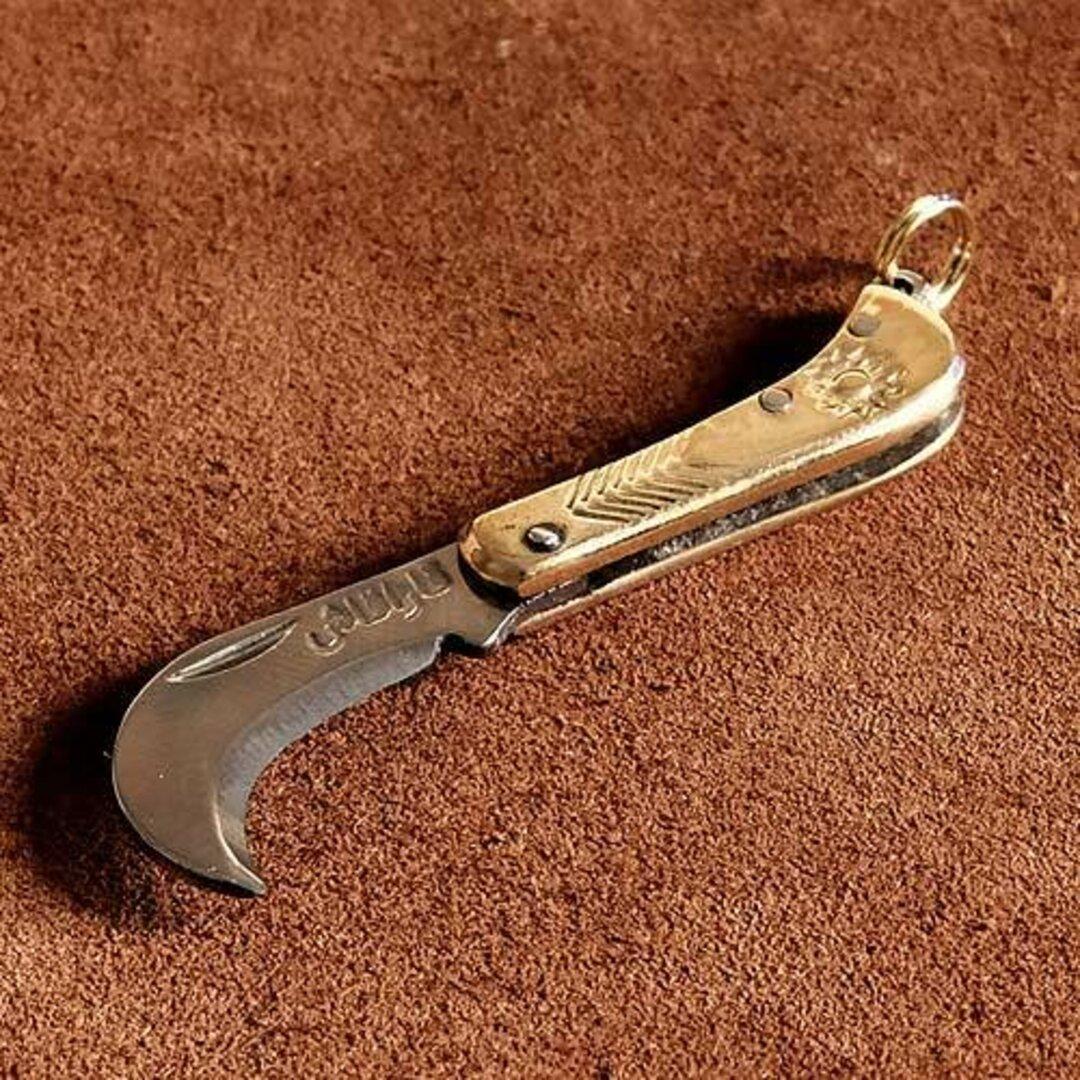 超ミニサイズ 真鍮ポケットナイフ(アラビア)ジャンビーヤ キーホルダー 二重リング ミリタリー 折りたたみ ペーパーナイフ 小さい 小型