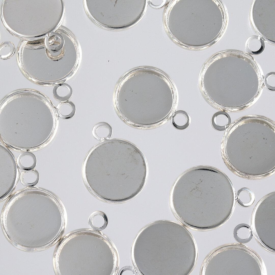 ミール皿 シルバー 10mm 白銀 丸 小さめ カン付き 20個 セッティング 台座 レジン アクセサリー パーツ 金具 AP2503
