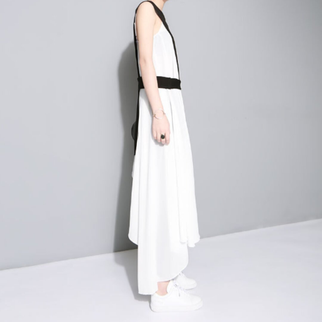 個性ステッチと新しいスタイル不規則なスカートツーピースドレス