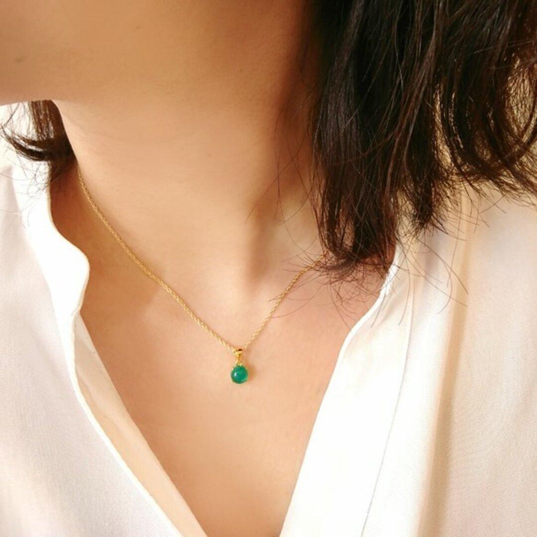 【14kgf】グリーンオニキスの一粒ネックレス