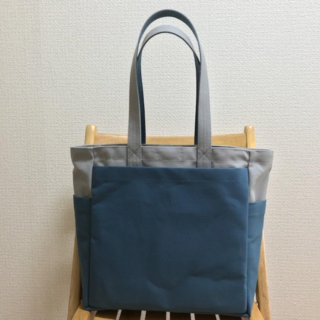 「ボックストート」 大サイズ 「グレー×ミネラルブルー」倉敷帆布8号【受注制作】