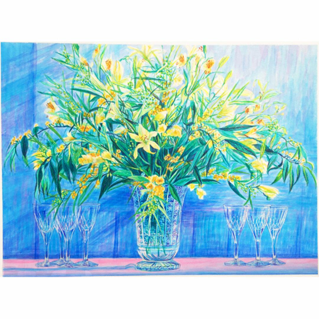 アクリル原画☆額装代込み54×43㎝☆版画化され全国のデパートなどで販売されましたCrystal Blue☆青 黄色 花の絵 グラス