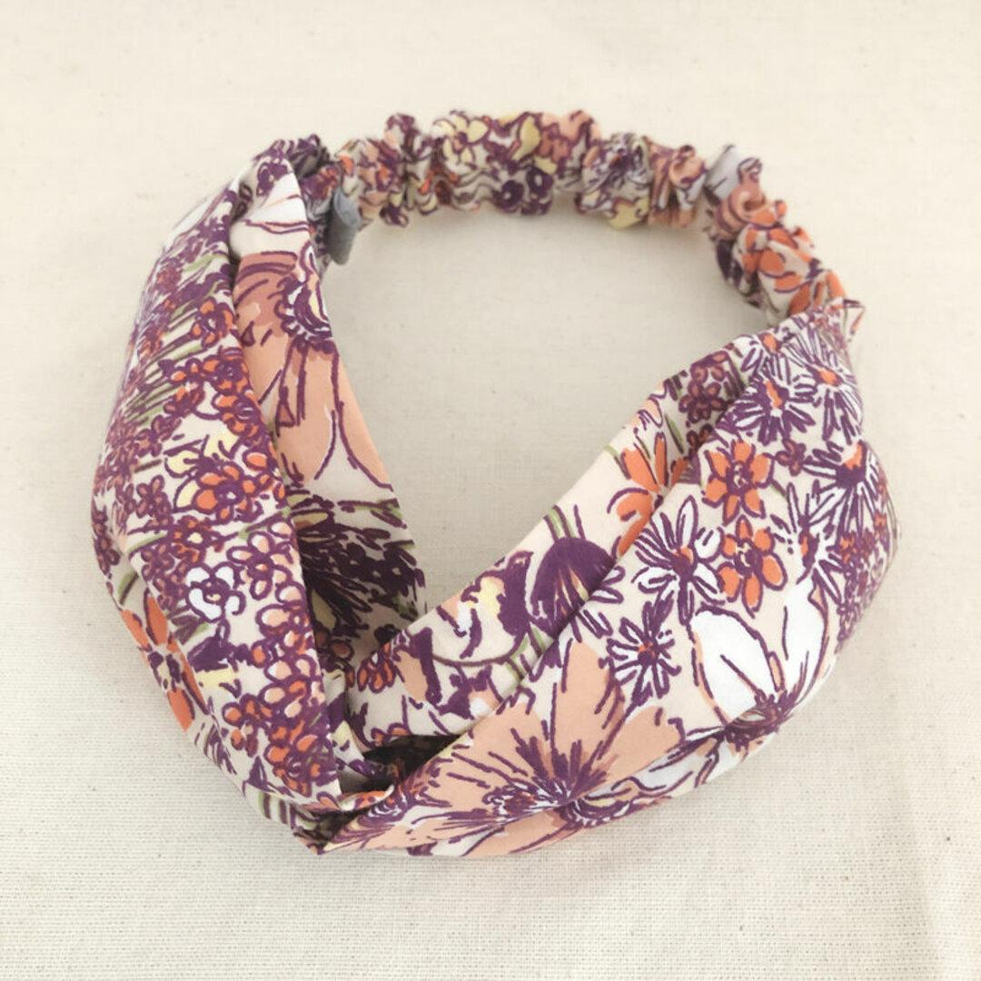 ヘアバンド/クロスターバン Purple Flower