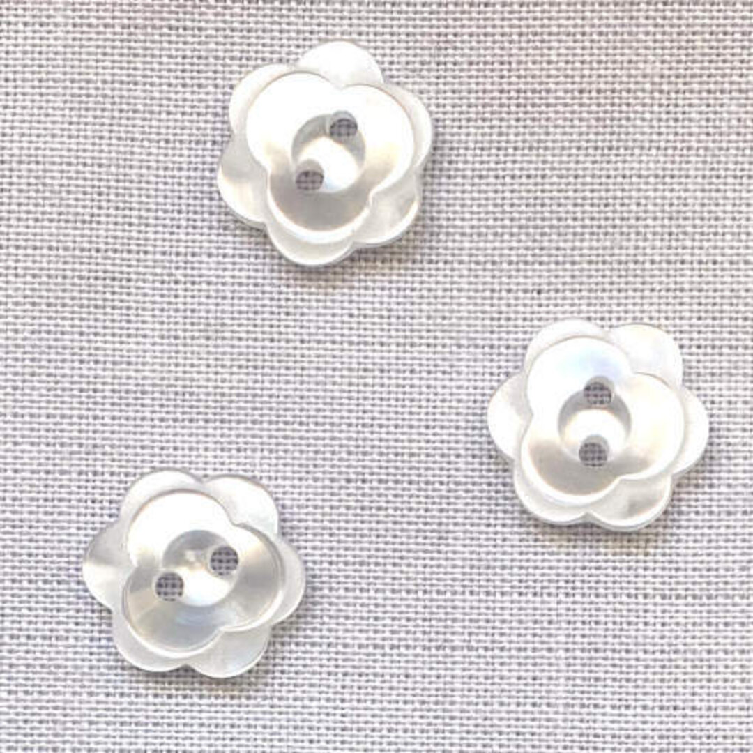 ポリエステル ボタン フラワー ホワイト6個 花 バラ ローズ b-2460