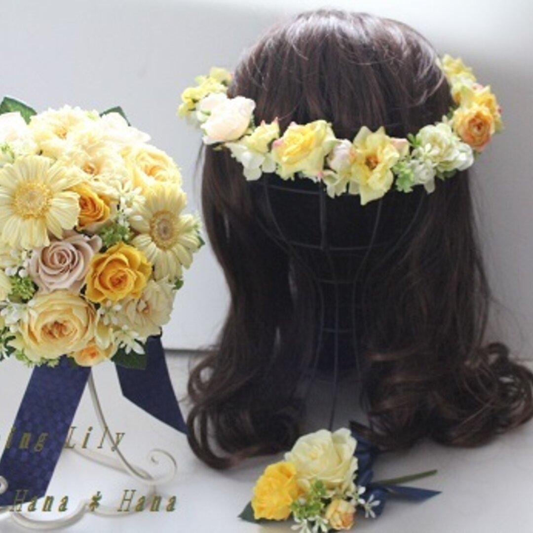プリザウェディングブーケ、花冠、ブートニアセット。色変更OK