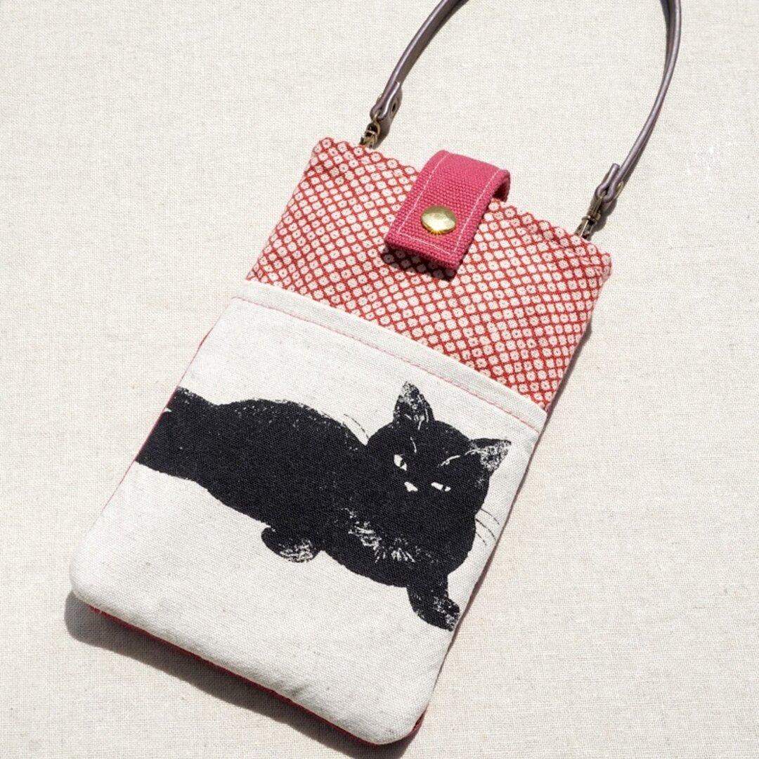 コインケース付きスマホポーチ(L) SC-L79(黒ネコ、レッド鹿の子)