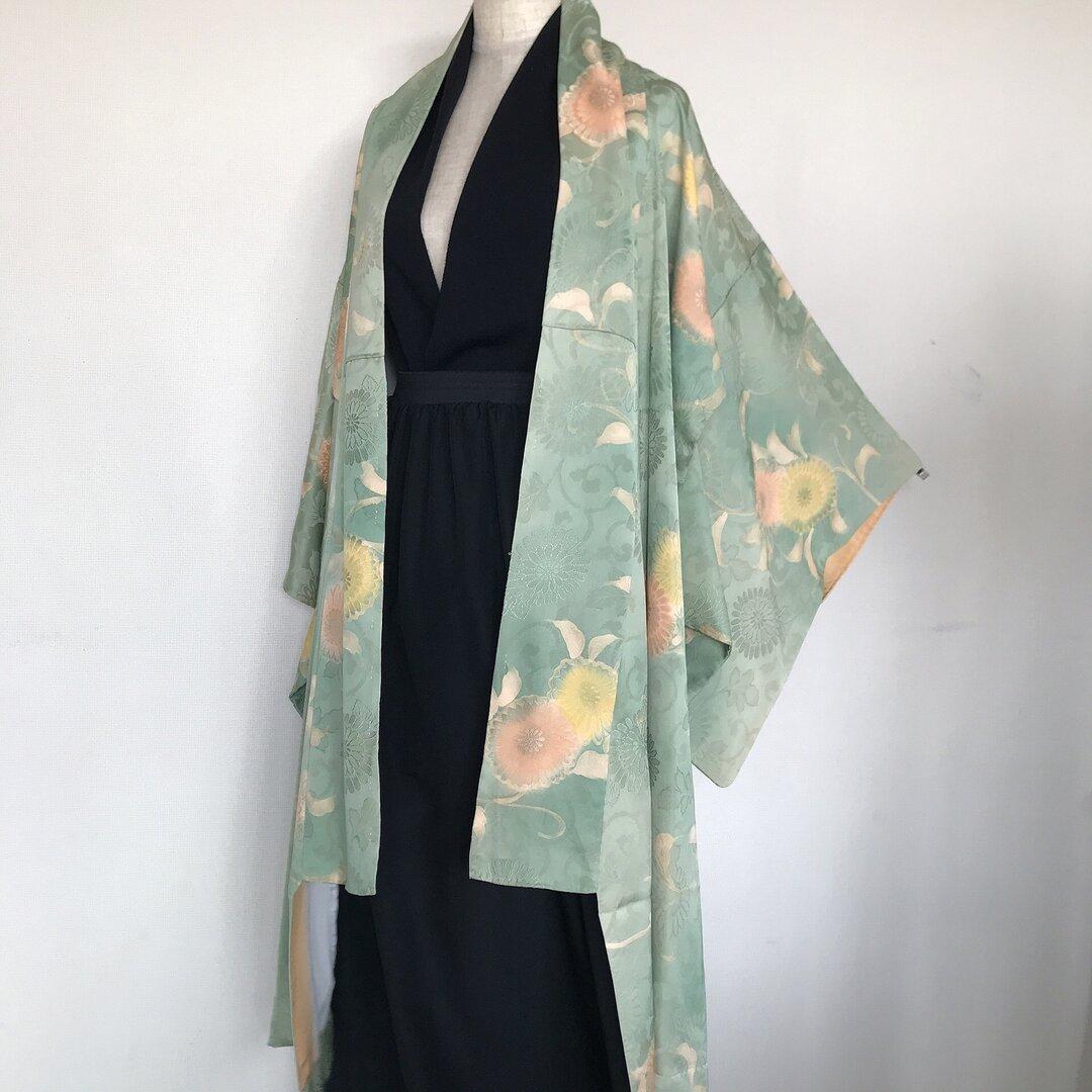 着物カーディガン コート 和装 羽織 はおり ロングカーディガン 和柄 和 男女兼用 フリーサイズ 緑系