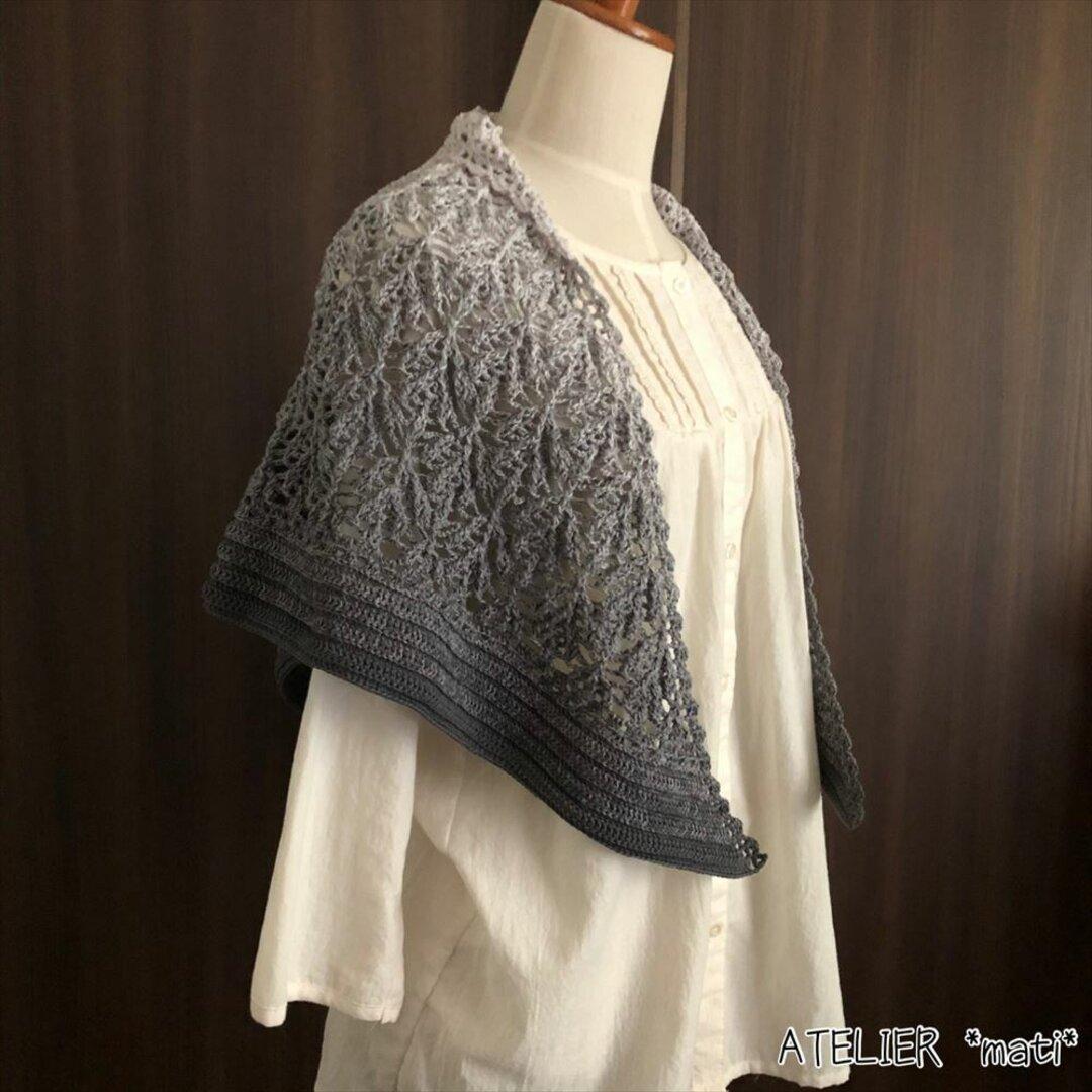 【編み図】ふっくらリーフ模様の三角ストール(印刷版)