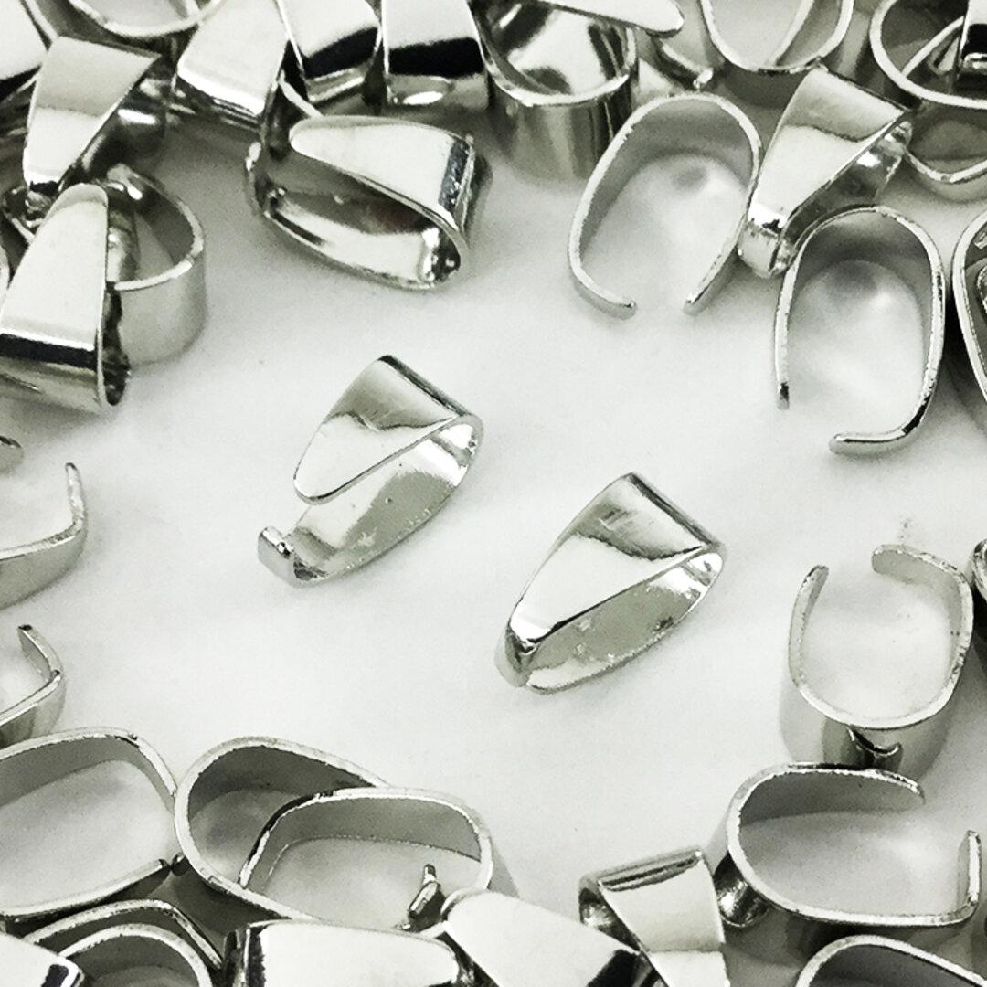 送料無料 バチカン シルバー 100個 8mm 留め具 アクセサリー ネックレス パーツ 金具 (AP0406)
