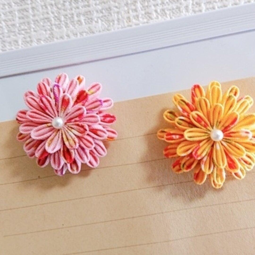 [つまみ細工] お花のマグネット