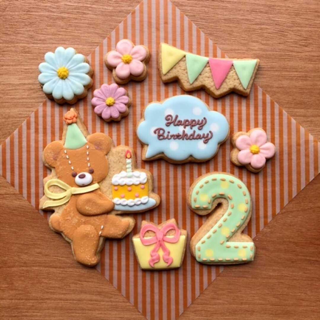 『お誕生日』クッキーセット/テディベア