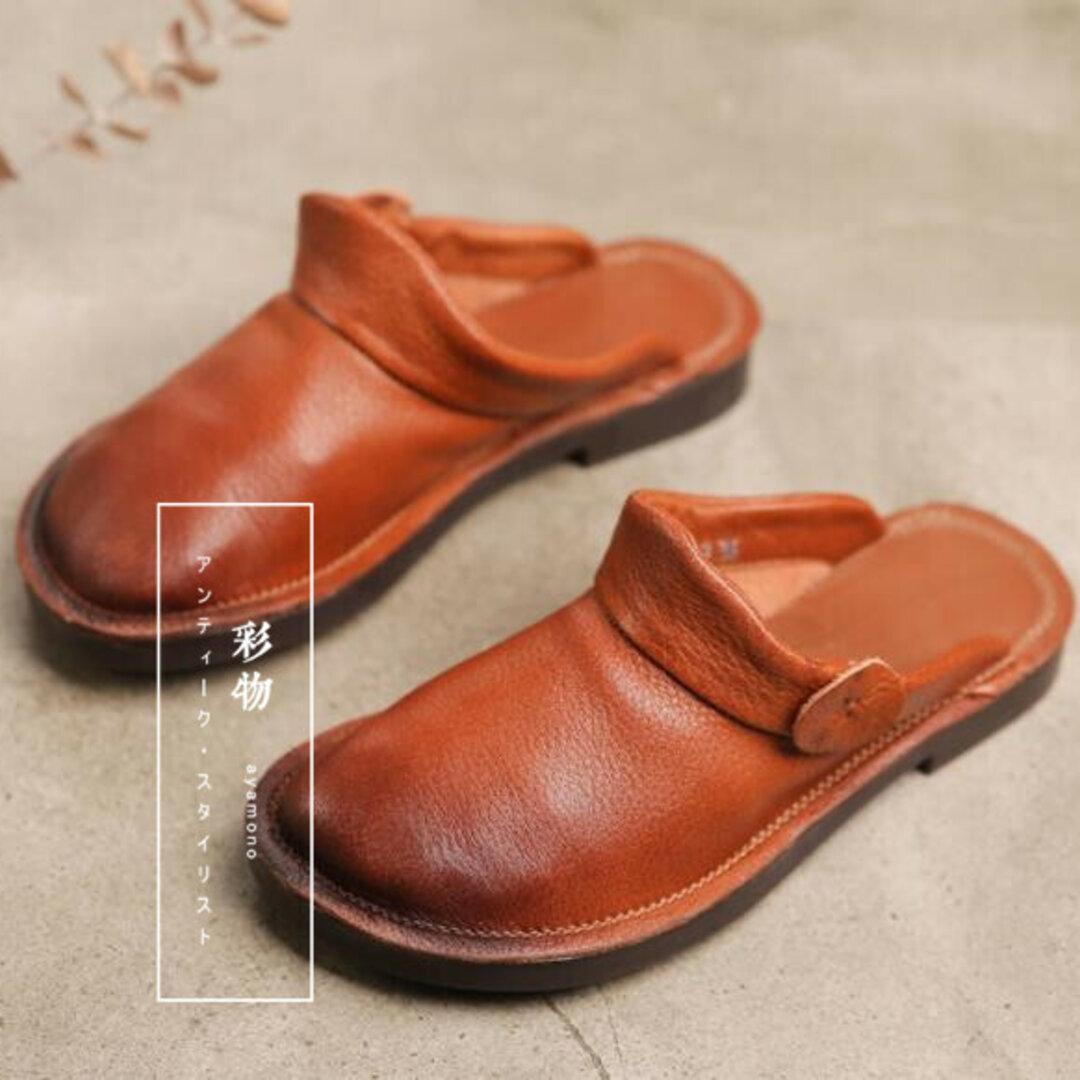 【受注製作】牛革サンダルパンプス ぺたんこ丸トウ 手製裁縫牛革レザー靴 3色展開 DHH325