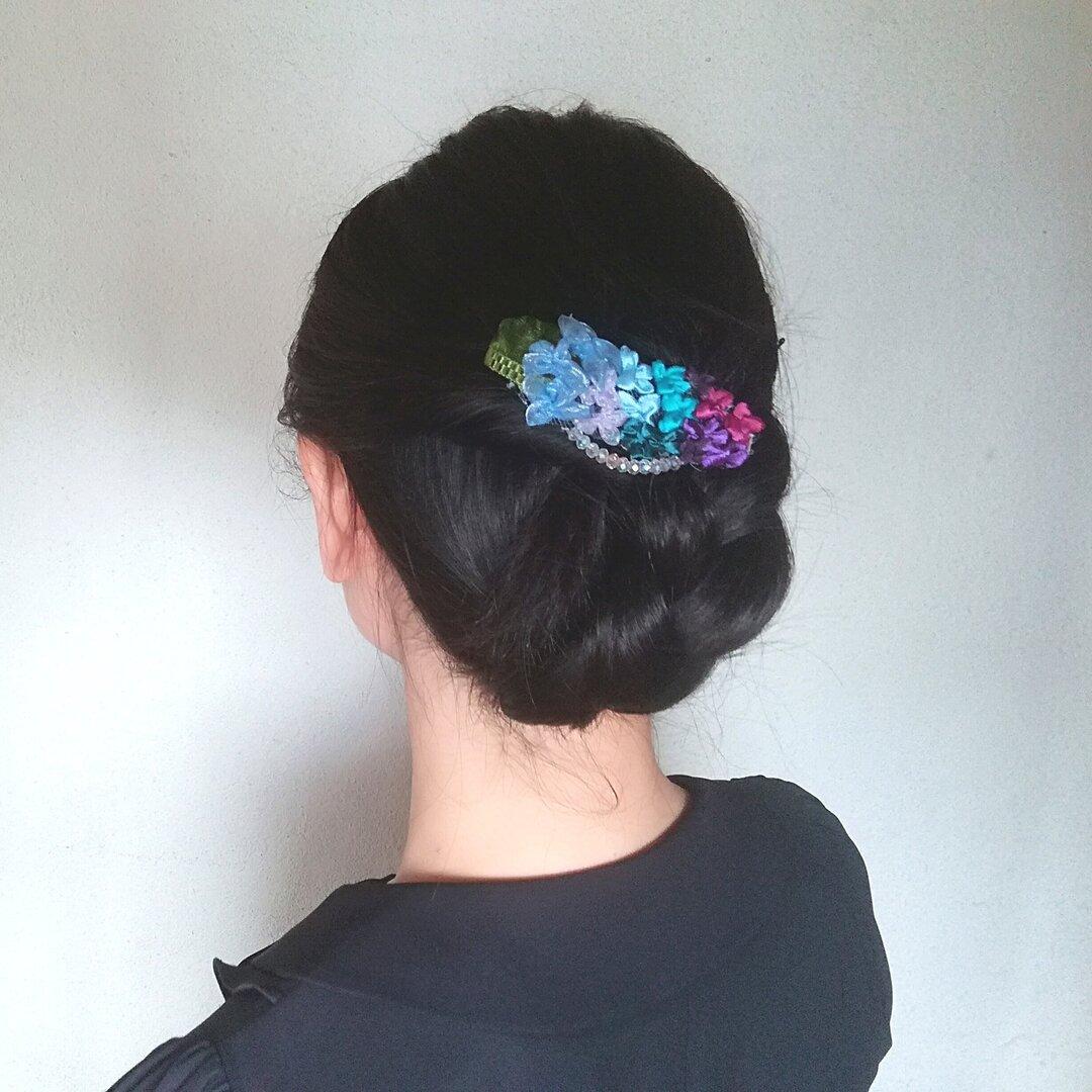 ラッピング無料☆紫陽花のヘアクリップ グラデーション バレッタ リボンフラワー