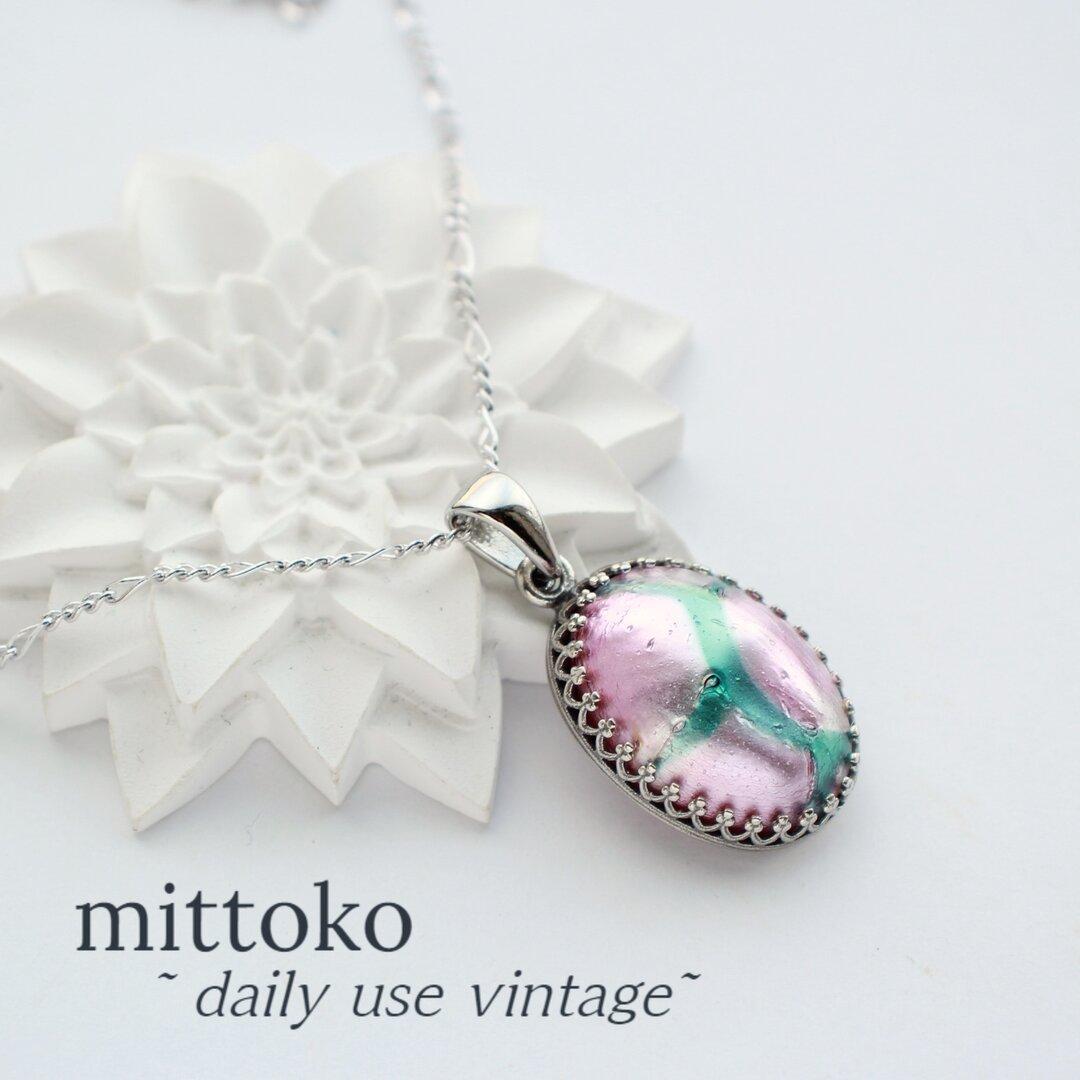 【ピンク・緑】アートガラスのネックレス シルバーカラー ヴィンテージ