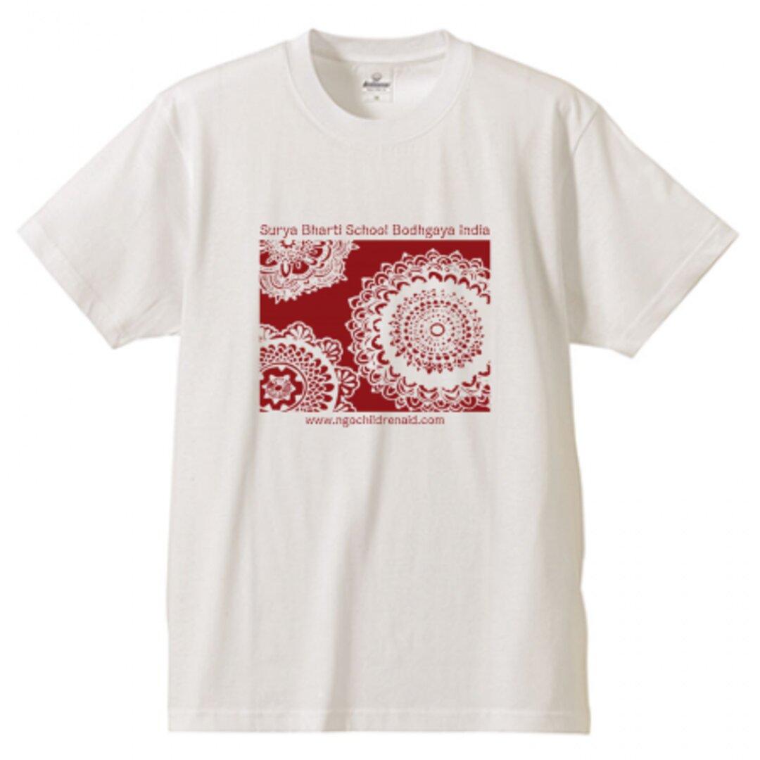 シワ二・クマーリちゃんデザイン「花」シルクスクリーン Tシャツ ホワイト