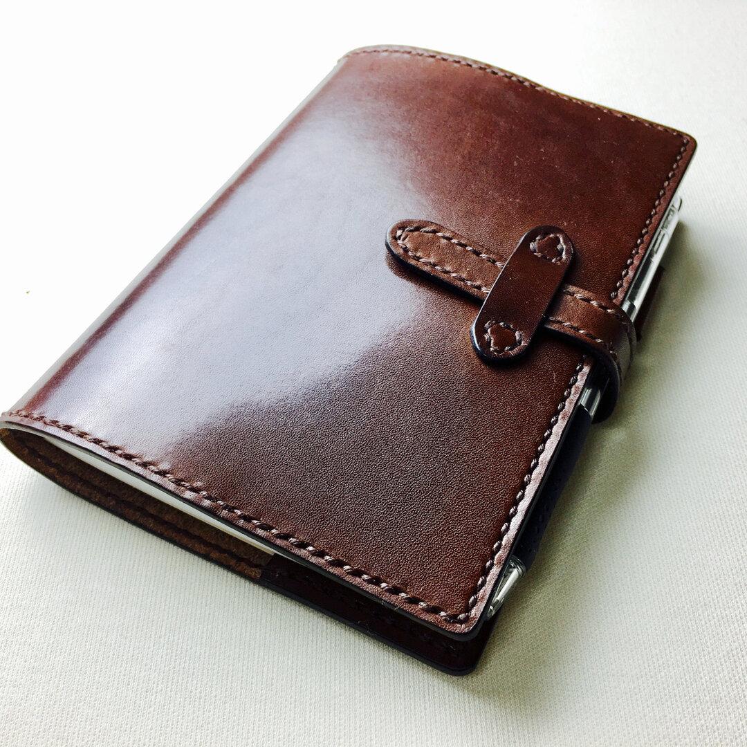 【手縫】ほぼ日手帳オリジナルA6用チョコ色本革カバー※アジャスト機能のペンホルダーに仕様変更