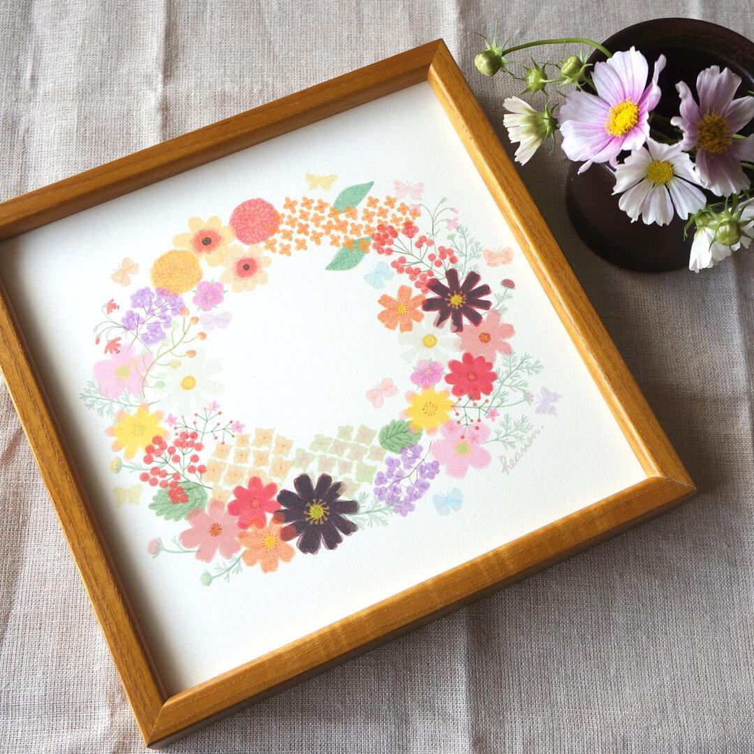 「秋のリース(オレンジ)」20cm角ポスター