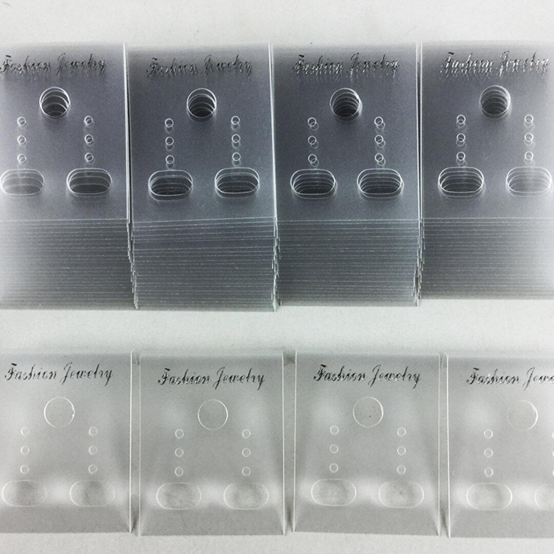 送料無料 ピアス 台紙 クリア 100枚 37mmx30mm 透明 イヤリング 台紙 アクセサリー 飾り ハンドメイド 素材(AP0182)