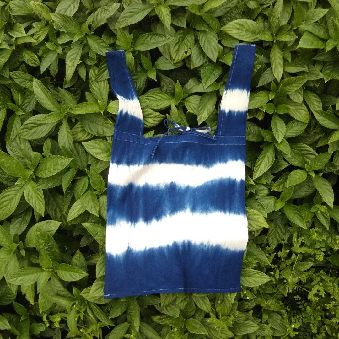 琉球藍染お買い物バッグ ~しましま~