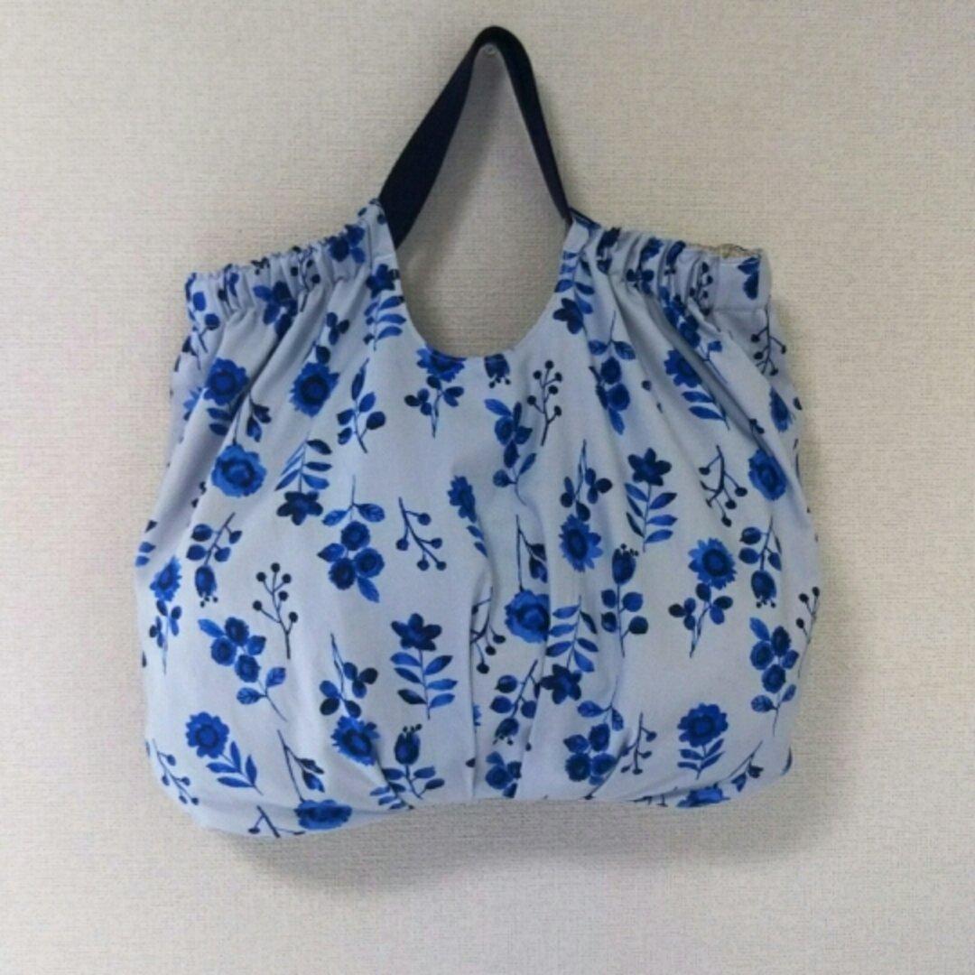 ぷっくりバッグ ブルー水彩花