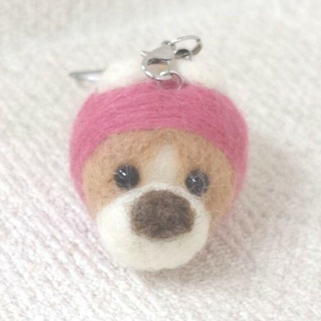 羊毛フェルト【犬】まんまるコーギーストラップ
