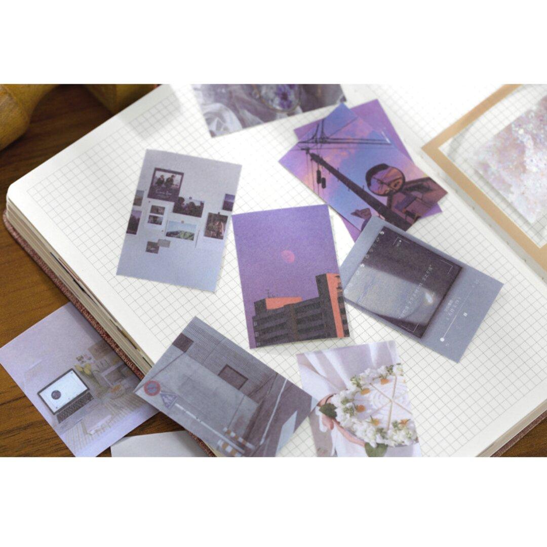 豆本風シール おしゃれな灰白色 50枚 和紙 写真 コラージュ Vol.2