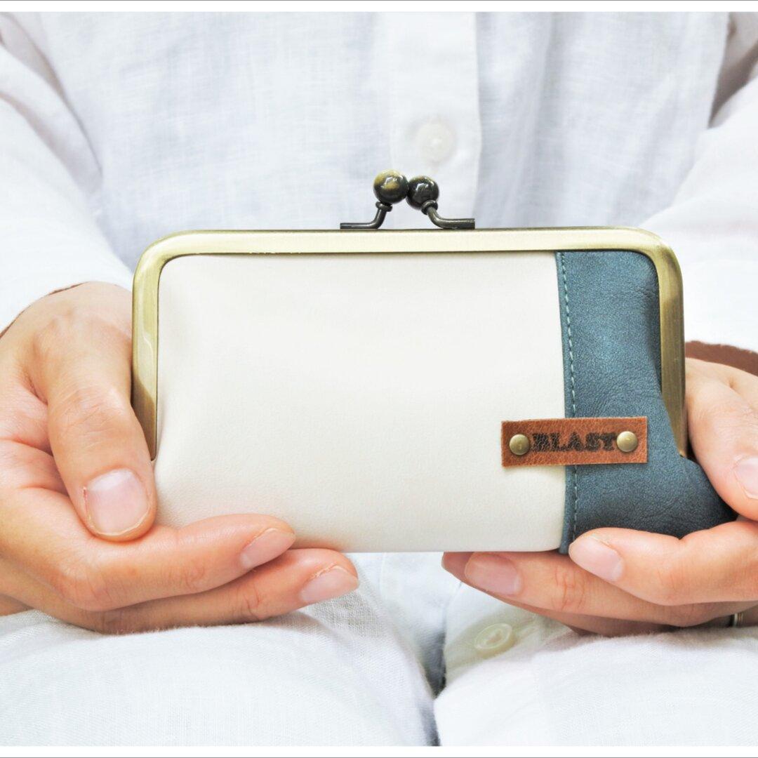 仕切り付き・小さいがま口財布Ivory×Peacock blue【選べる裏地】【受注製作】