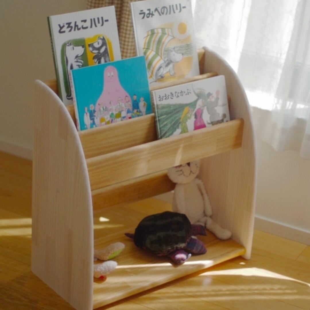 【即納】木製の丸いデザインの絵本棚 60高 白xオーク