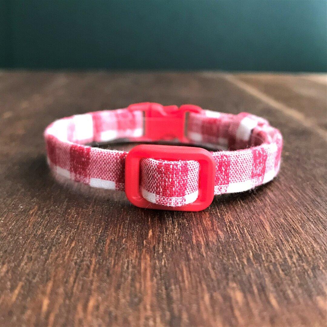 手縫いの猫用首輪●56カントリーチェック