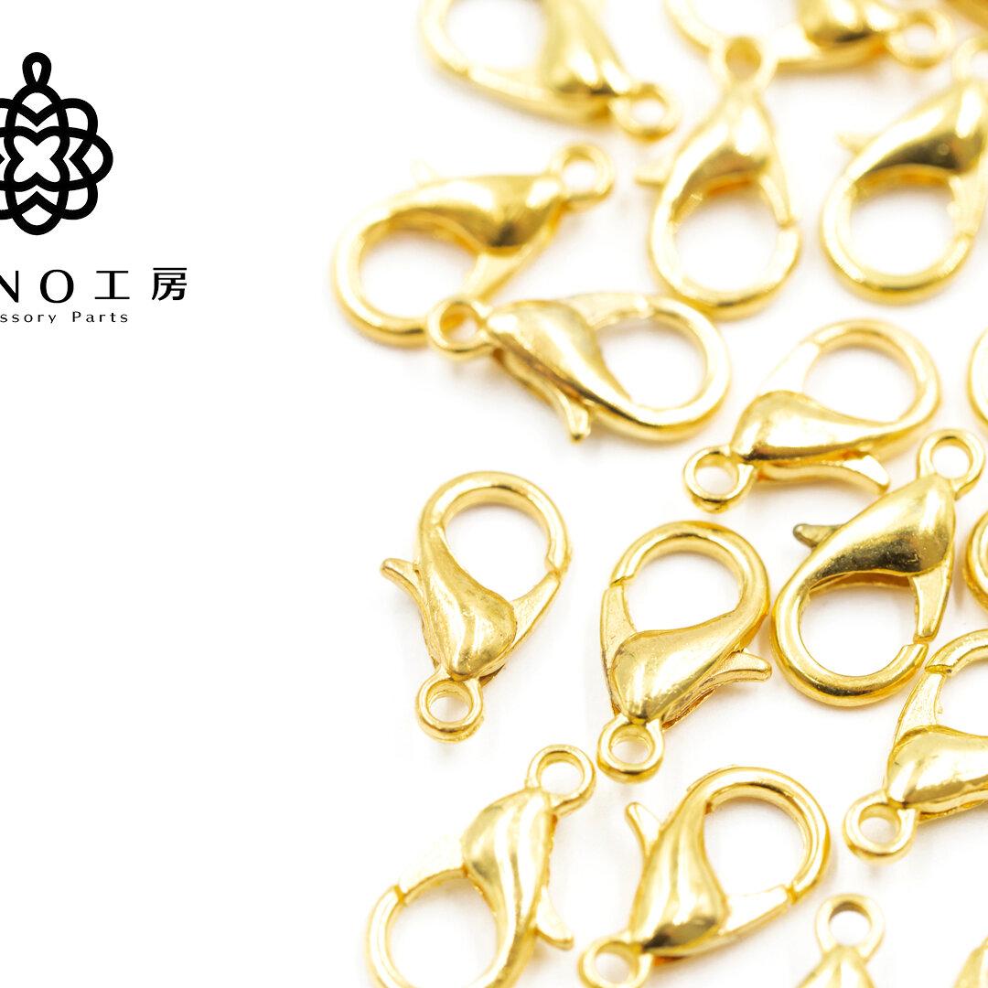【lc-1】10mm カニカン ゴールド★30個★ 基礎 素材 ピアス アクセサリー パーツ ネックレス