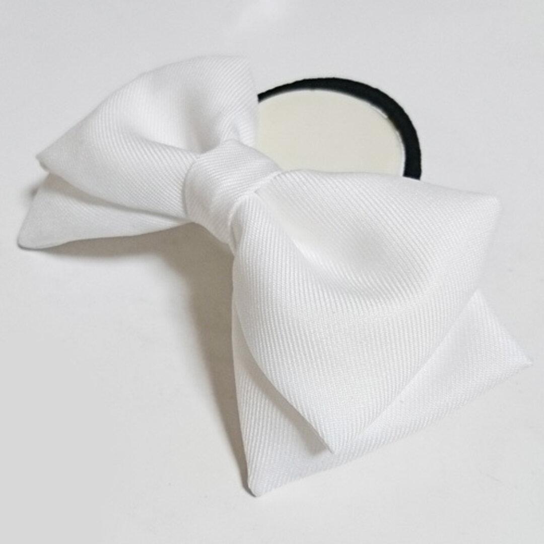 白色リボン ヘアゴム  髪飾り コスプレ衣装小物 ハンドメイド ホワイト 白