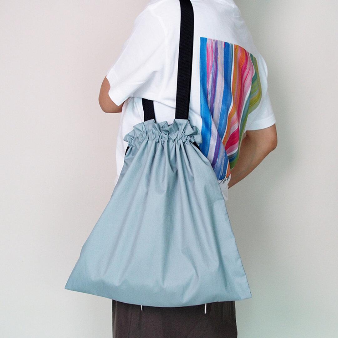軽くて丈夫 撥水エコバッグ巾着トートセミショルダーバッグ(ミントグリーンブルー)【新作】21023