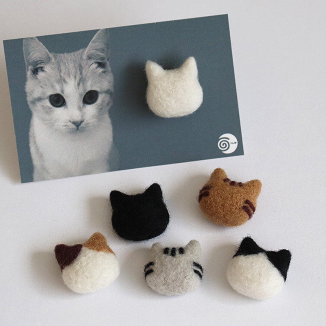 猫のポニーフック *シンプルな羊毛フェルトのヘアアクセサリー