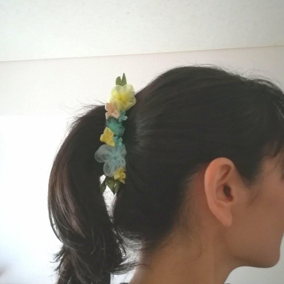 ラッピング無料☆紫陽花のバナナクリップ yellow リボンフラワー