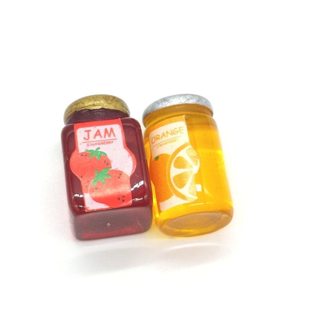 6個 ミニチュア  ジャム瓶   イチゴ オレンジ ドールハウス